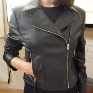 Joloni 'Brittany' Leather Cropped Biker Jacket