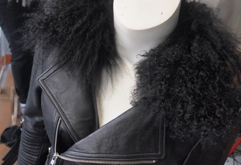 Joloni 'Brittany' Leather Biker Jacker with Mohair Collar