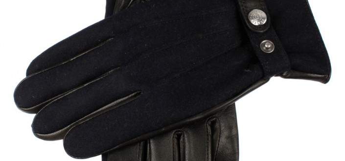 Dents men's wool flannel back leather glove style 5-9032