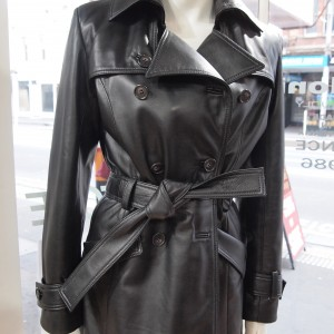 Leather short Trench Coat